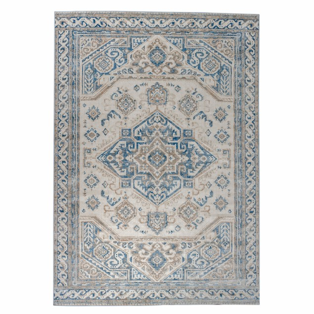 Semira Transitional Damask Medallion Indoor Area Rug