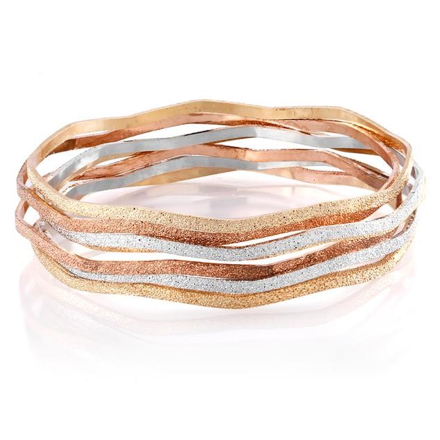 Diamond Cut 7-Piece Bangle Bracelet Set