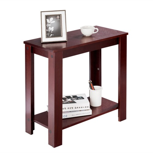 Costway Chair Side Table Coffee Sofa Wooden End Shelf Living Room Furniture