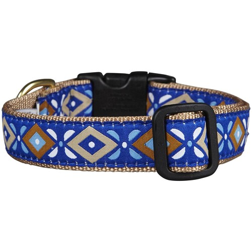 Up Country Aztec Blue Dog Collar - Large