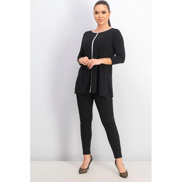 Alfani Women's Petite Piped Tunic Black Size 44