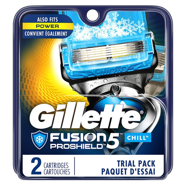 Gillette Fusion5 ProShield w/ 5 Anti-Friction Men's Razor Blades, 2 Ct