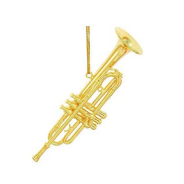 "Gold Metal Trumpet Ornament Horn Christmas X-Mas 3.5"" Band Music Orchesta"
