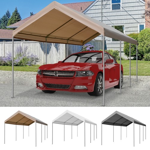20' L x 10' W Vehicle Port/Tent w/ Steel Frame & Weather-Proof Material