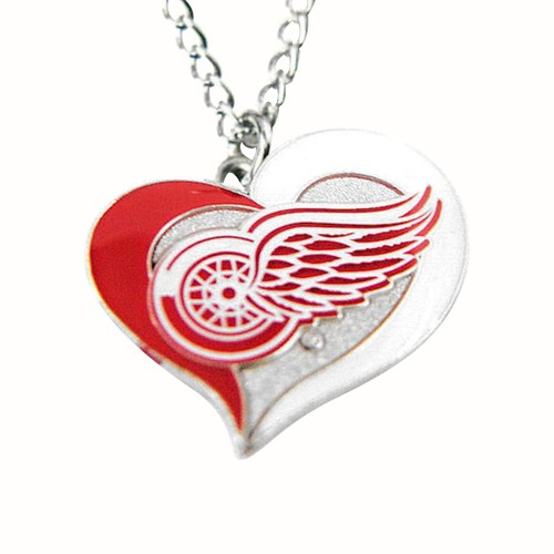 NHL Detroit Red Wings Swirl Heart Necklace