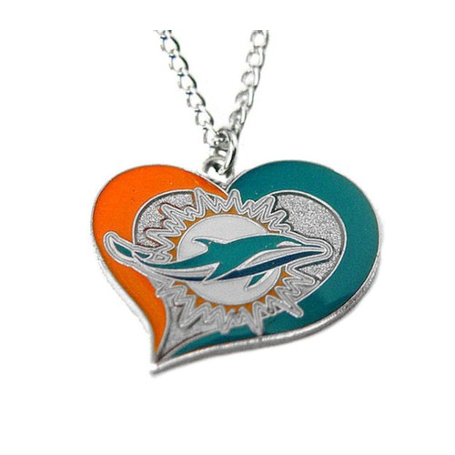 NFL Miami Dolphins Swirl Heart Necklace
