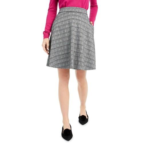 Maison Jules Women's Plaid A-Line Skater Skirt  Gray Size 10