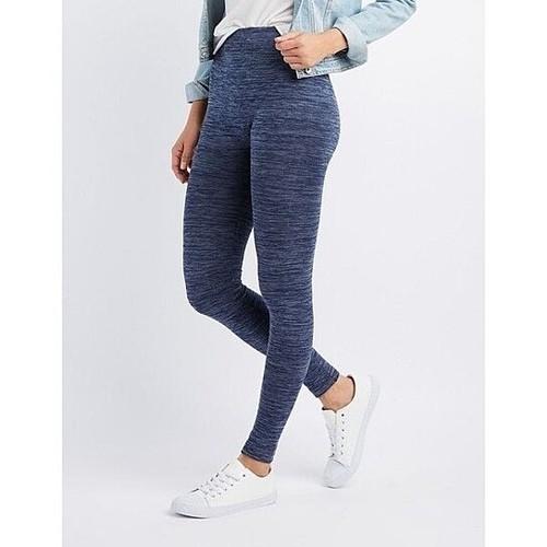2-Pack: High-Waisted Fleece Lined Marled Leggings - Regular & Plus Sizes