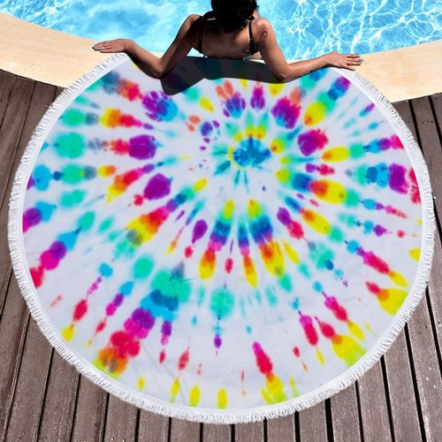 """Microfiber Round Beach Towel Throw Blanket with fringed 59""""x 59"""""""
