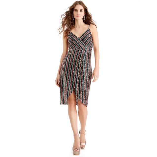 Betsey Johnson Women's Multicolored-Sequin Wrap Dress Red Size 12