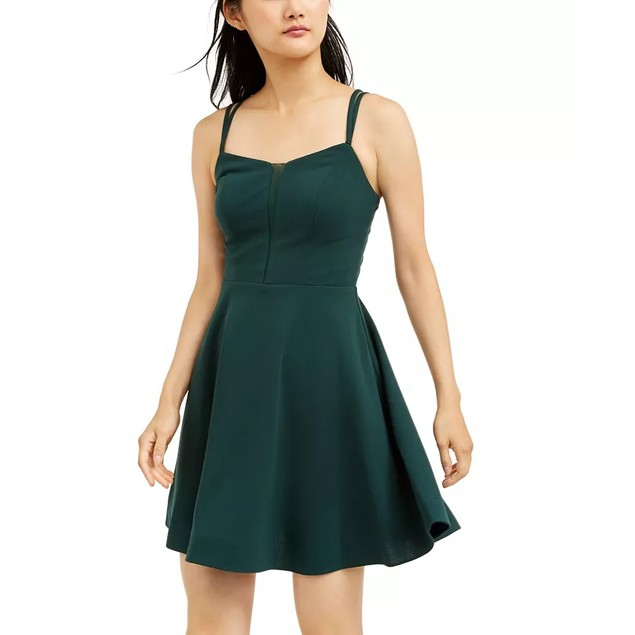 Teeze Me Juniors' Illusion Fit & Flare Dress  Green Size 7