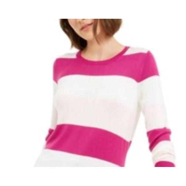 Maison Jules Women's Striped Sweater Dark Pink Size Medium