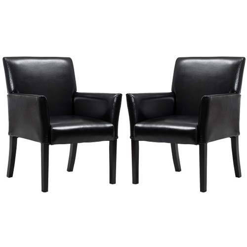 Costway Set of 2 PU Leather Guest Chairs Reception Side Arm Chairs Upholste