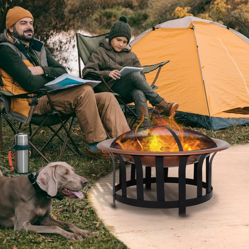 Steel Round Outdoor Patio Fire Pit Wood Log Burning Heater with Poker/Grate