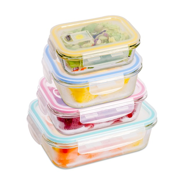 Glass 4pcs Meal Prep Storage Container Set With Snap Locking Lid