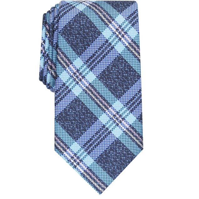 Perry Ellis Men's Duxbury Plaid Tie Navy Size Regular