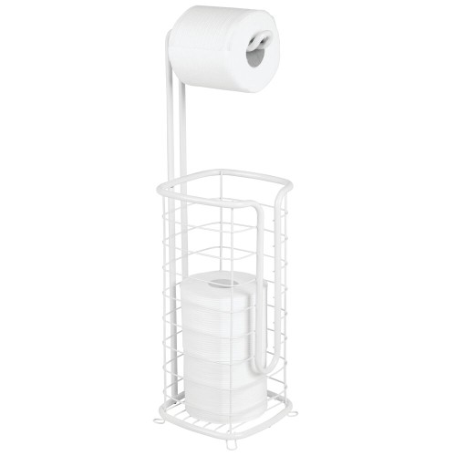 mDesign Metal Free Standing Toilet Paper Stand/Dispenser - Holds 4 Rolls