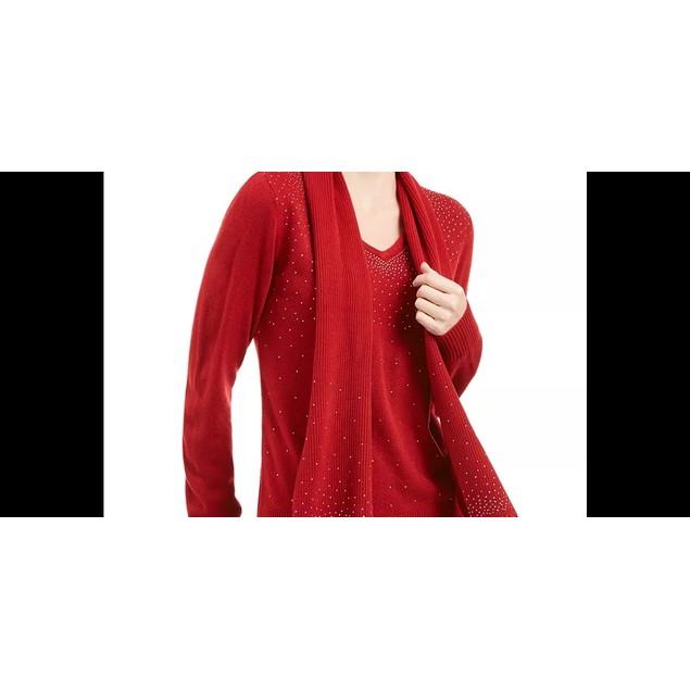Karen Scott Women's Embellished Scarf Sweater Medium Red Size Small