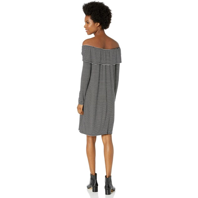 Love, Fire Women's Off Shoulder Long sleeve Stripe Ruffle Dress, M, Black