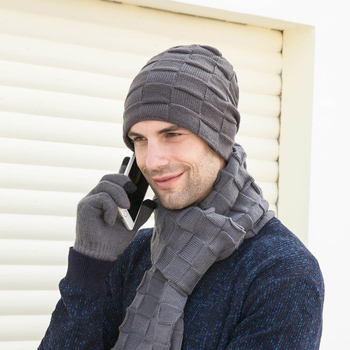 3-Piece Set Of Men's Thermal Set Of Wool Hat Scarf Gloves
