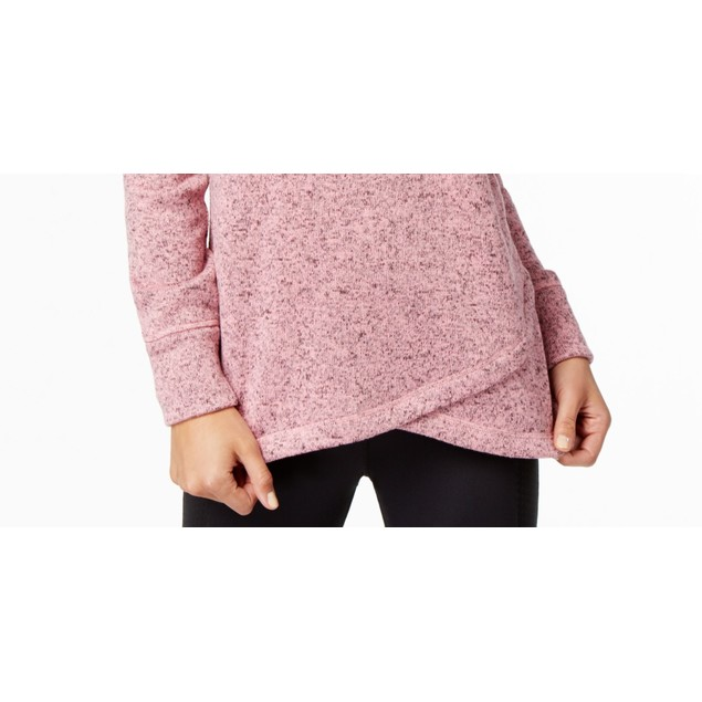 Ideology Women's Cowl Neck Pullover Pink Size XX-Large