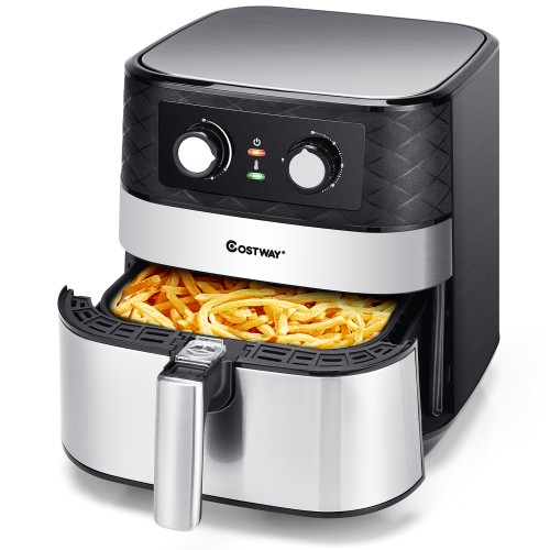 Costway 5.3 QT Electric Hot Air Fryer 1700W Stainless steel Non-Stick Fry B
