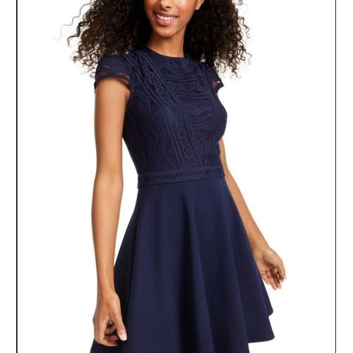 City Studios Junior's Lace Top Dress Blue Size 5