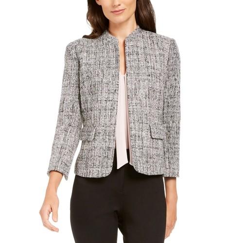 Ann Klein Women's Tweed Mandarin-Collar Jacket Black Size 0