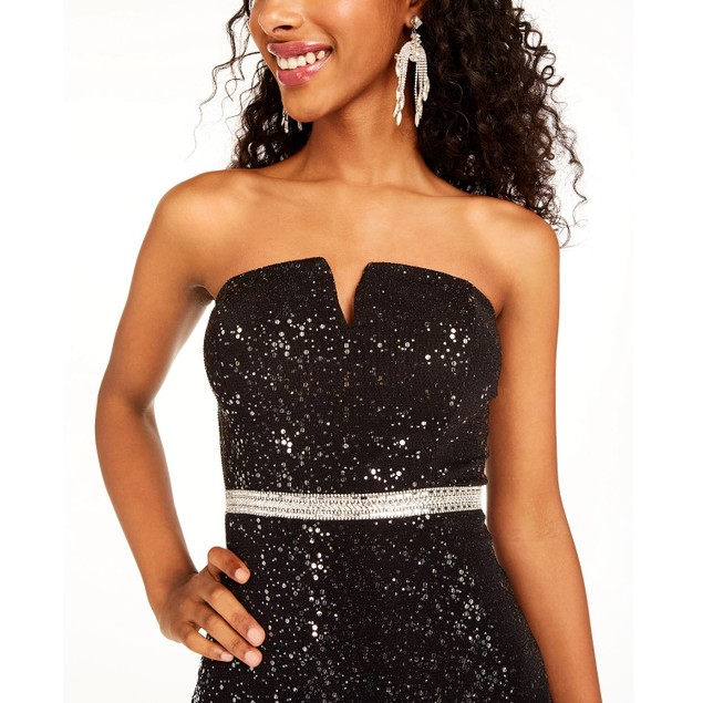 City Studios Juniors' Sequined Strapless Fit & Flare Dress Silver Size 13