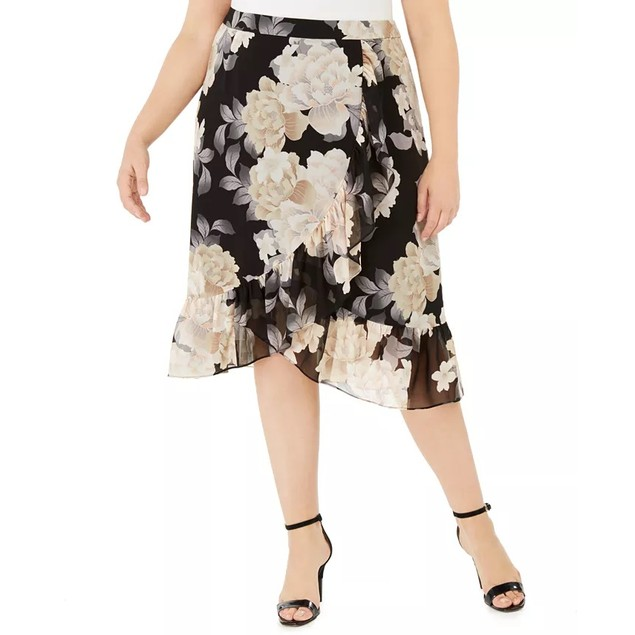 Calvin Klein Women's Crossover Ruffled Skirt Charcoal Size 20W