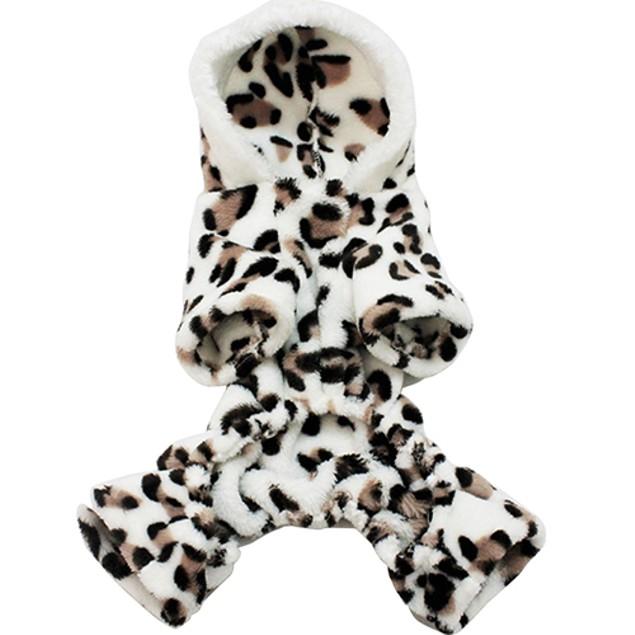 Leopard Warm Winter Pet Dog Puppy Clothes Hoodie Jumpsuit Pajamas Outwear