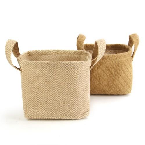 Cotton Jute Storage Baskets - Pack of 2 | MandW