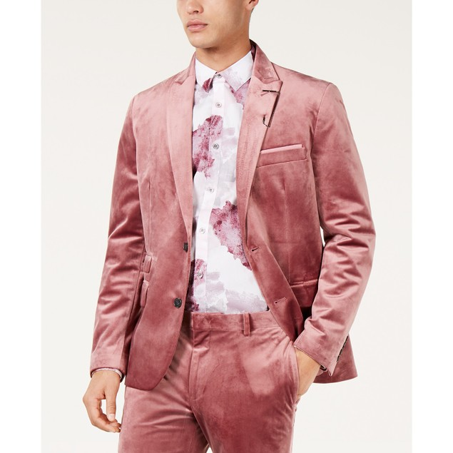 INC International Concepts Men's Slim-Fit Velvet Blazer Pink Size Small