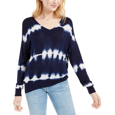 Crave Fame Juniors' Tie-Dyed Pullover Sweater Blue Size Extra Large