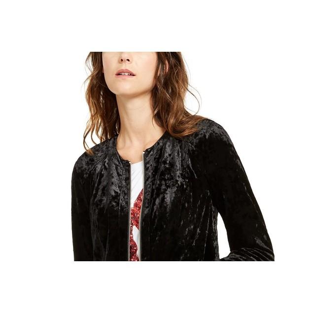 INC International Concepts Women's Velvet Peplum Jacket Black Size Small