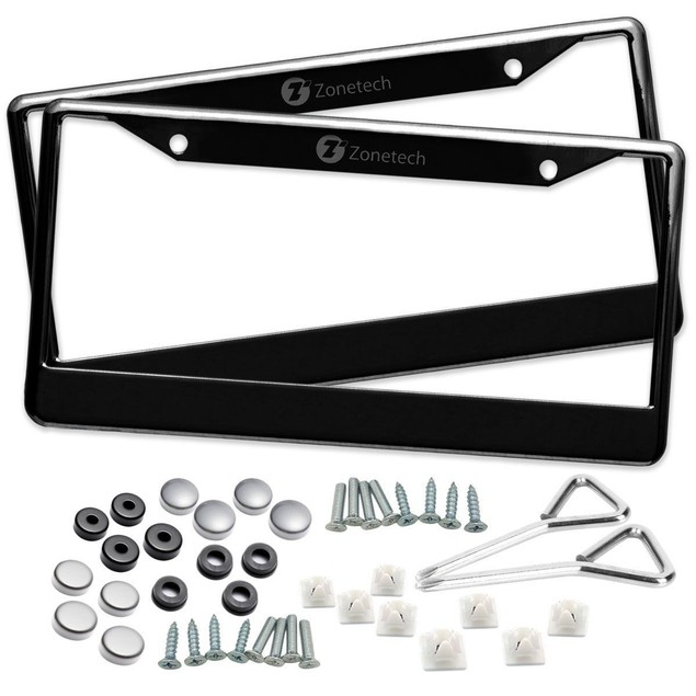 Zone Tech 2x Black Stainless Steel Metal License Plate Frame Tag Screw Cap