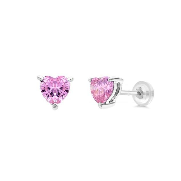 Sterling Silver 4mm Pink Heart Shape Cubic Zircon Screw-Back Post Earrings