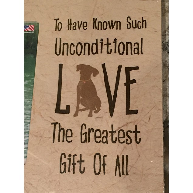 Unconditional Love Dog Vertical Distressed Wood Picture Frame 4x6