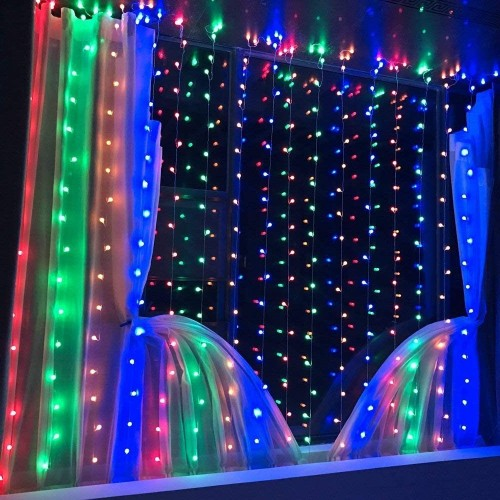 LED RGB MULTI-COLOR WATERPROOF STRING FAIRY CURTAIN LIGHTS