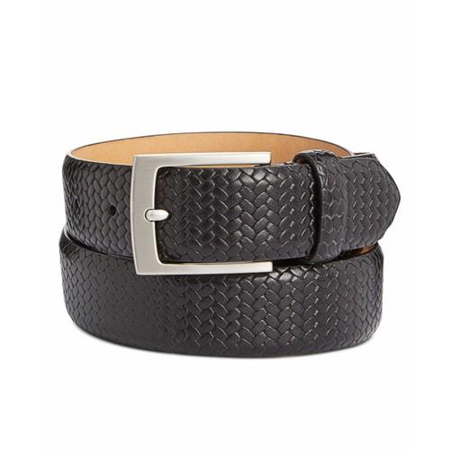 Tasso Elba Men's Braided Leather Belt  Black Size 44 Regular