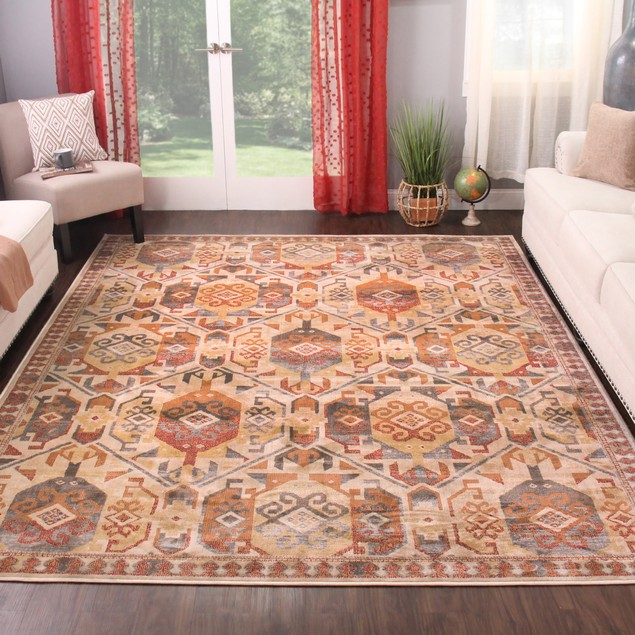 Southwest Indoor Area Rug Collection, Textured Geometric Medallion Runner
