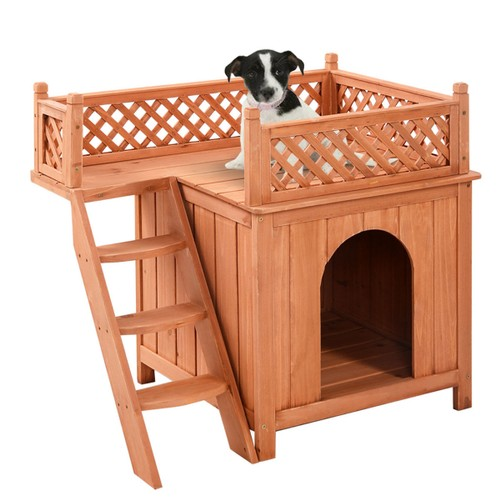 Costway Wooden Puppy Pet Dog House Wood Room In/outdoor Raised Roof Balcony