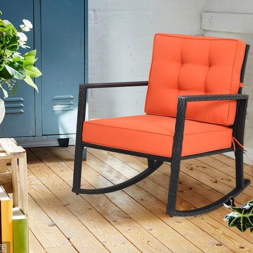 Costway Patio Rattan Rocker Chair Outdoor Glider Wicker Rocking Chair Cushi
