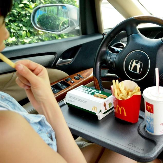 Zone Tech Gray Car Laptop Food Steering Wheel Tray Cup Holder Travel Desk