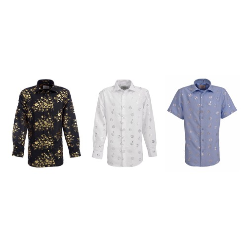 Suslo Couture Boy's Slim Fit Casual Foil Button Down Shirt