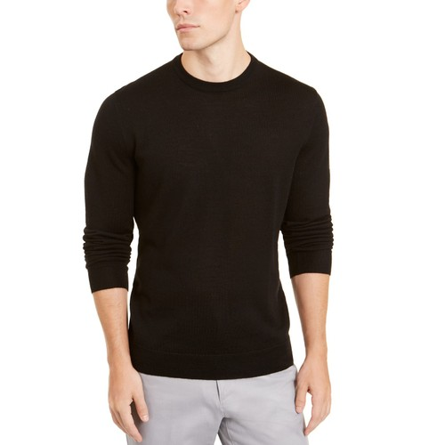 Alfani Men's Merino Blend Solid Crewneck Sweater Black Size Medium