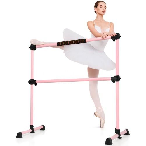 Goplus Portable Ballet Barre 4ft Freestanding Adjustable Double Dance Bar S