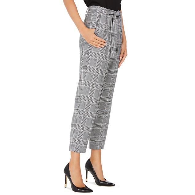 Calvin Klein Women's Plaid Tie Waist Pants Silver Size 2