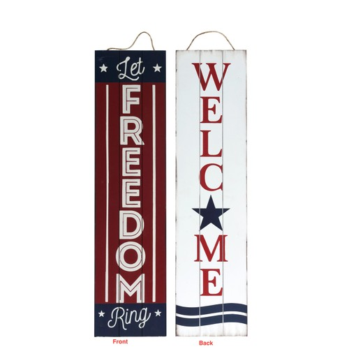 Reversible 2 Sided Wood Patriotic Porch Sign - Multicolored