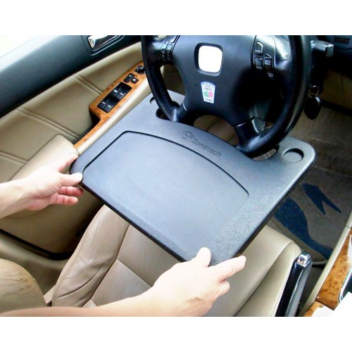 Zone Tech Gray Car Laptop Food Steering Wheel Tray Cup Holder Travel Desk